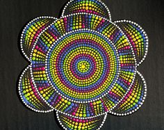 Rainbow Spin Flower Original dot art painting acrylic on canvas board