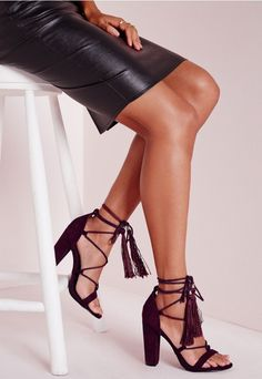 Lace Up Tassel Block Heeled Sandals Berry - Shoes - High Heels - Missguided