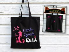 Store your little Candy Queen's loot this Halloween with a unique and personalized Halloween Trick Or Treat bag from Applecopter.