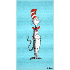 The Cat In The Hat Panel Blue from @fabricdotcom  Licensed to Robert Kaufman Fabrics by Dr. Seuss Enterprises, this cotton print panel is perfect for quilting and craft projects. Panel measures approximately 24'' x 44''. Colors include black, white, red and blue. This is a licensed fabric and not for commercial use.