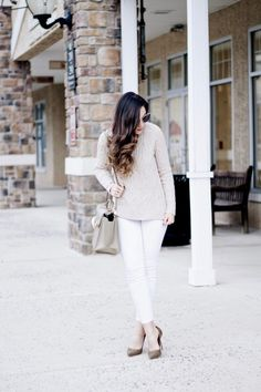 Light Festive Neutrals - White Jeans in the Winter and a Cable  Crew Neck Sweater with Lace up Pumps and  Zac Posen Bag