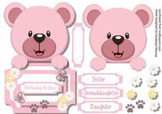 Over The Edge Lovely Pink Bear  on Craftsuprint designed by Ceredwyn Macrae - A lovely card to make and give to anyone with a lovely Over the edge Pink Bear has four greeting tags and a blank one for you to choose the sentiment,  - Now available for download!