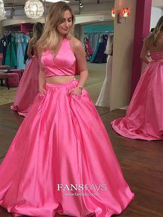 Long Prom Dresses Fuchsia, Two Piece Prom Dresses Princess, Halter Prom Dresses Open Back, Satin Prom Dresses With Pockets #FansFavs #fuchsiadresses #twopiecedress #princessdress
