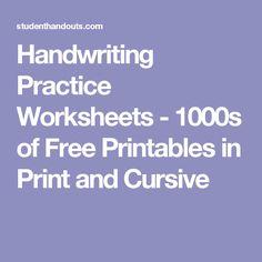 Handwriting Practice Worksheets - 1000s of Free Printables in Print and Cursive
