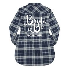 There's nothing cuter than custom flannels! Celebrate the bride to be with matching bride tribe plaid flannel shirts. Put your own custom text on this long sleeve comfy shirt and wear it to all your bachelorette party festivities. Flannel Shirts, Flannels, Plaid Flannel, Just Engaged, Crew Shop, Grunge Look, Denim Cutoffs, Roll Up Sleeves, Flannel