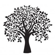black tree silhouette isolated on white background, vector Stock Photo - 13571981