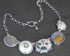 labradorite, ocean jasper, shell, carved fluorite and sterling silver metalwork necklace