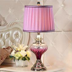 High End Creative Modern Elegant Crystal Glass Fabric Led E27 Table Lamp for Wedding Decor Living Room Bedroom AC 80-265V 1309 #Affiliate