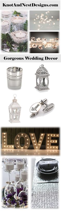 Like the silver beads in the candle holders and the upside down glasses with flowers inside.