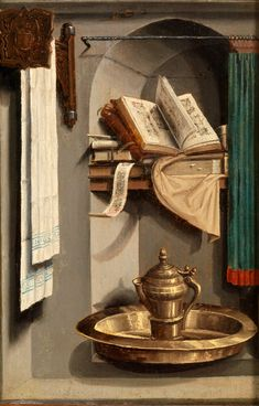 Boijmans Collection Online | Still Life with Books, Water Jug and Basin - A niche with books, a copper washbasin and jug, a clean white towel: this could be any still life. But the books and washing utensils refer to the pure, pious nature of the Virgin Mary, who is on the back of this small panel. Yet these are also the real roots of later still-life painting, in which objects are depicted for their own intrinsic beauty.