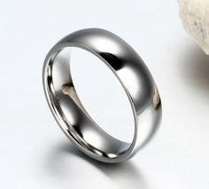 Titanium-steel-18k-Rose-Gold-GP-Smooth-Polish-Men-Women-Wedding-Groom-band-Ring
