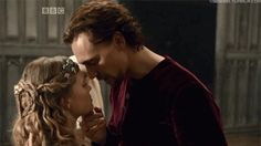 Henry V and Princess Katherine of France. The Hollow Crown. Oh gosh. My favorite Shakespearean King...played by Tom Hiddleston.