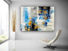 Abstract Art-Original Painting Bathroom Wall Art Extra Large image 0 Large Artwork, Colorful Artwork, Extra Large Wall Art, Large Painting, Painting Bathroom Walls, Bathroom Wall Art, Bedroom Paintings, Canvas Art, Painted Canvas