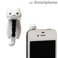 Cat Earphone Jack Plug Accessory (White / Hanging)