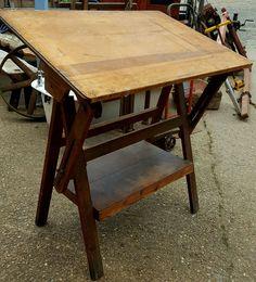 Vintage Industrial Architects Draughtsman's Table / Desk Adjustable top 1950/60s in Antiques, Antique Furniture, Desks | eBay
