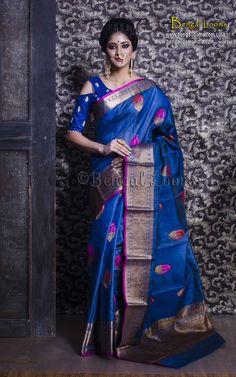 Pure Handloom Tussar Silk Banarasi Saree in Dark Blue and Gold