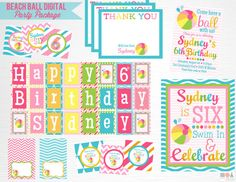 Items similar to Pink Blue Beach Ball Birthday Party Package YOU Print on Etsy Beach Ball Birthday, Birthday Parties, Food Tent, Party Package, Blue Beach, Circle Shape, Happy Birthday Banners, Favor Tags, Printing Services