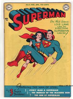 SUPERMAN #57 Vintage DC Comic Book Golden Age 1949 Lois Lane as Superwoman NICE!