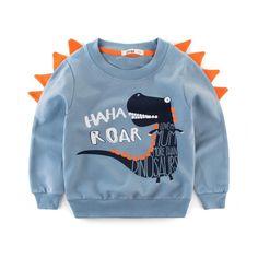 Dinosaur Print Sweatshirt Boy Fall Children Kids Outerwear Hoodies Sweatshirts for Baby Clothes Moleton Meninas Cute Sweatshirts, Boys Hoodies, Boys T Shirts, Printed Sweatshirts, Baby Outfits, Kids Outfits, Dinosaur Sweater, Animal Sweater, Boys And Girls Clothes