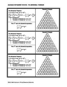 The Binomial Theorem Worksheets Algebra