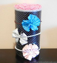 Headband Holders -  Using an oatmeal container. I love the idea of keeping a usable lid to put all the odds n ends inside.