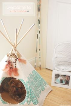 fashionlush, home decor, dog teepee