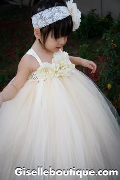Flower girl dress Ivory Vintage with Pearls TuTu