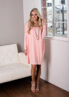 Peach Piko Tunic Dress! Restock, Piko Dress, Dress, Short Dress, Long Sleeve Dress, Online Boutique, Fashion, Modern Vintage Boutique