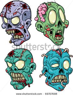 Image detail for -stock vector : Four cartoon zombie heads. All in separate layers for ...