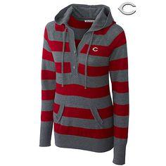 Cincinnati Reds Knockout Striped Hooded Sweater by Cutter & Buck - MLB.com Shop - Yep - SR