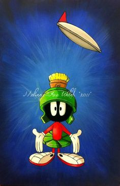 I love and adore painting looney tunes, this is an A3 sized painting of Marvin the Martian. Reference of nightwings digital artwork from deviant art.