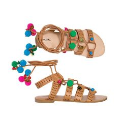 By Avon Havana Ball Sandals. We love how these pom-pom sandals add some fun to every outfit in this collection! Havana, Cool High Heels, Avon Fashion, Fashion Online, Avon Mark, Pom Pom Sandals, Shops, Flats, Shoes Sandals
