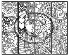 "abstract coloring pages | Coloring Page Hand Drawn ""Bookmarks of Love Black and White"" Abstract ..."