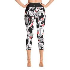 Black Floral Yoga Capri Leggings – SupremeLeggings Floral Leggings, Capri Leggings, Women's Leggings, Yoga Capris, Stretch Fabric, Catalog, Pajama Pants, Legs, Outfit