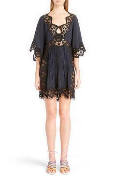 Chloé Smocked Scalloped Lace Trim Silk Dress