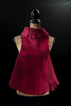 Sara Felts - Wrap style nuno felted vest, hand dyed and a bit of shibori stitching.
