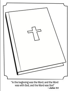 What's in the Bible? Bible kids coloring page featuring John 1:1.