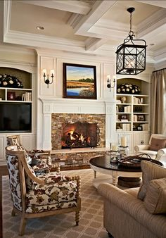Traditional Living Room Design Ideas, Pictures, Remodel and Decor Home Living Room, Living Room Designs, Living Room Decor, Living Spaces, Small Living, Modern Living, Style At Home, Family Room Design, Fireplace Design