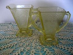 Indiana Glass Lorain Yellow Creamer & Sugar by Sisters2Vintage, $49.00