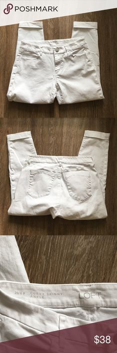 LOFT curvy skinny ankle white jeans, 8P Same as my size 6 jeans for sale, just a bigger size and curvy fit. These are in perfect condition, worn twice. Cuffed at ankle. No stains. LOFT Jeans Skinny
