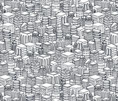 Endless line drawing of repeating buildings in black and white.  inspired by New York  Additional colorways:   Concrete Grey  Blue Ink on Crumpled Paper