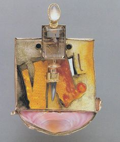 wlliam harper       1985 THE ECSTASY OF SAINT TERESA III.....and SHE WAS FILLED WITH THE RADIANCE OF HIS LIGHT...... Gold cloisonne enamel on Fine gold and fine silver; sterling silver; shell; rutilated quartz; moonstone; shark tooth