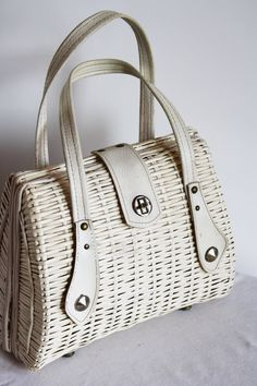 Vintage summer white wicker purse.  I had one just like this and so did all my friends.