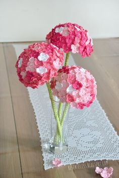 HYDRANGEA crochet flower. . . With a vintage pearl button as the center