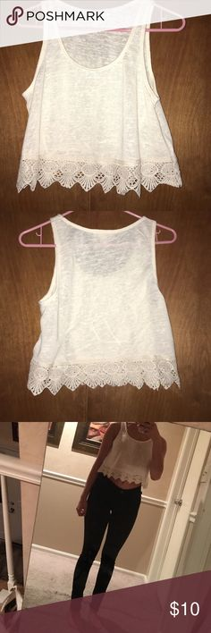 Forever 21 Crop Tank Cream colored knit crop tank with lace on the bottom. Worn twice, but still looks new! Forever 21 Tops Crop Tops