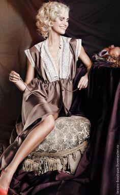 Купить Карамельное Капучино (пеньюар) - коричневый, однотонный, натуральный шелк, французское кружево, пеньюар
