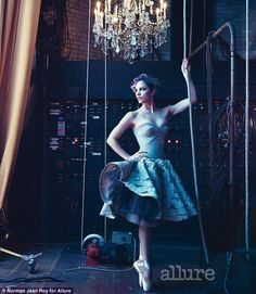 Ballerina beauty: Katharine McPhee poses on pointe against theatrical backdrop of a chandelier backstage