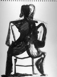 Untitled (figure study)  Artist:Nicholas Krushenick (American, New York 1929–1999 New York) Date:1951 Medium:Ink on paper Dimensions:H. 8-3/4, W. 11-7/8 inches (22.2 x 30.2 cm.) Classification:Drawings