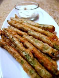 Beer Battered Asparagus with Lemon Herb Dipping Sauce! Mmmmmm I  asparagus
