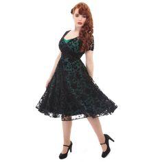 Collectif Nina Teal Green and Black Brocade Velvet Rose Swing Dress